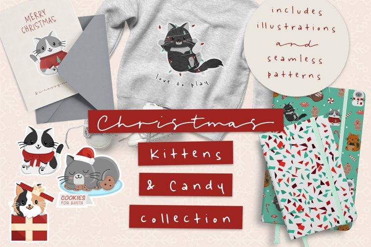 Christmas Kittens and Sweets Clipart