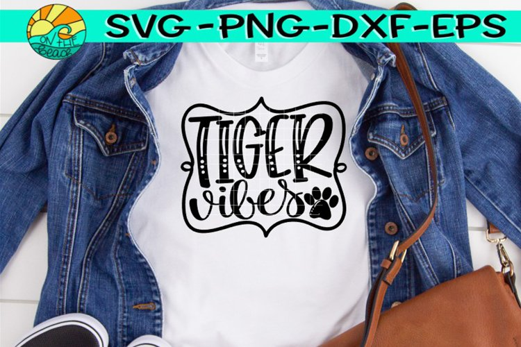 Tigers Vibes - Paw Print - SVG PNG EPX DXF example image 1