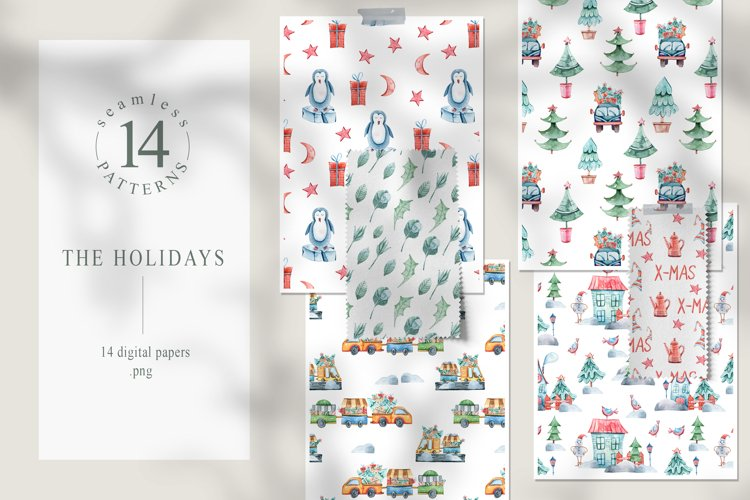 Watercolor Christmas seamless patterns. Digital paper pack example image 1