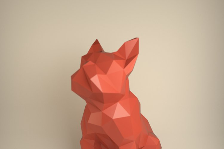 French Bulldog, Papercraft Bulldog, Paper Dog, Paper Animals, Papertoy, Home Decor, Frenchie, 3D papercraft model, lowpoly DIY, hobby idea