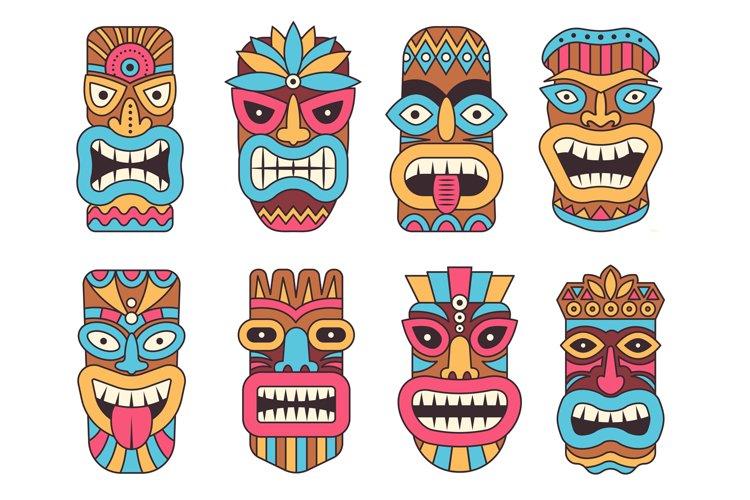 Hawaiian mask of tiki god. Wooden african sculpture example image 1