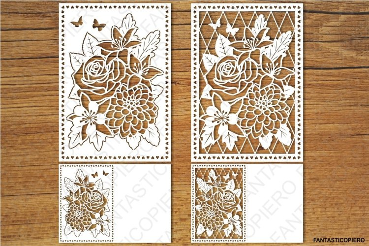 Floral Greeting Card 3 SVG files for Silhouette and Cricut. example image 1