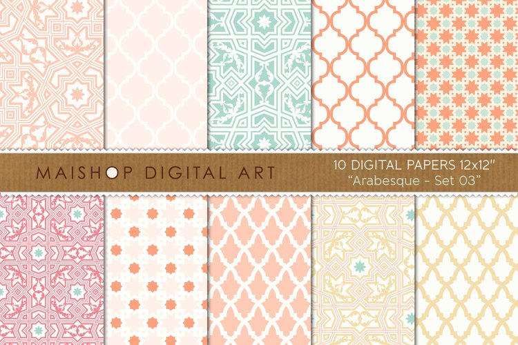 Digital Paper Pack - Arabesque Set 03 example image 1