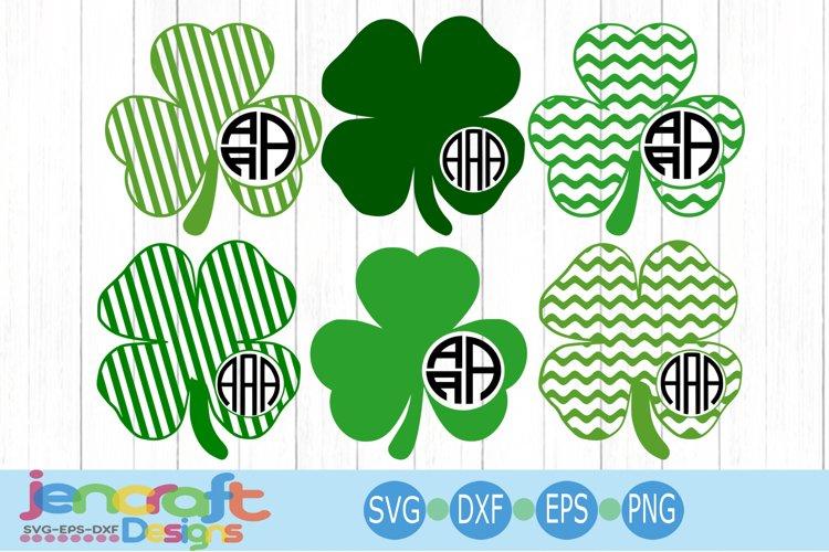 St. Patricks day SVG, Shamrock SVG Monogram Frame Clover