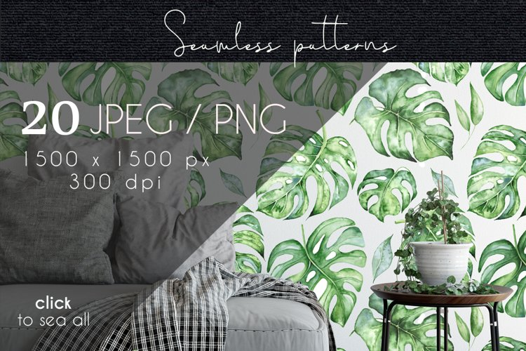 Tropical seamless patterns example image 1