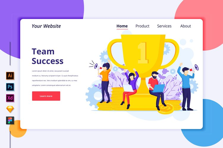 Landing page template of Team Success Illustration