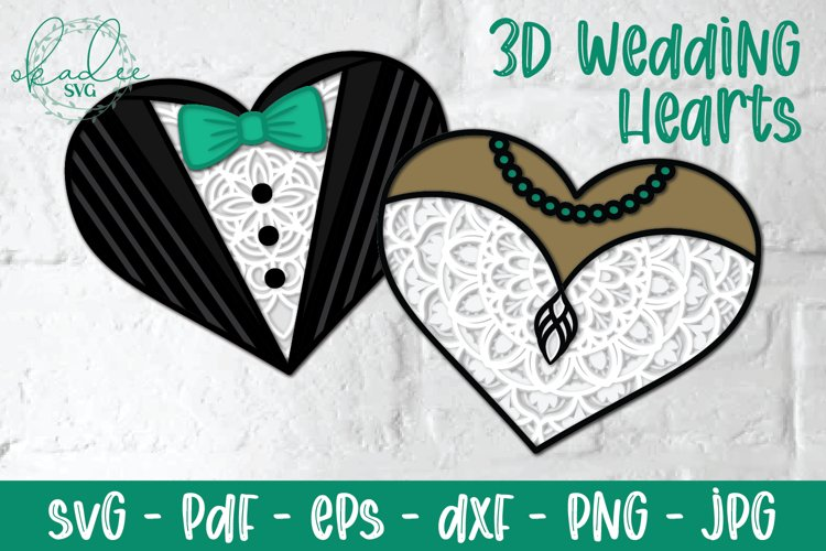 3D Wedding Heart Mandala SVG, Wedding Dress, Tuxedo Papercut example image 1