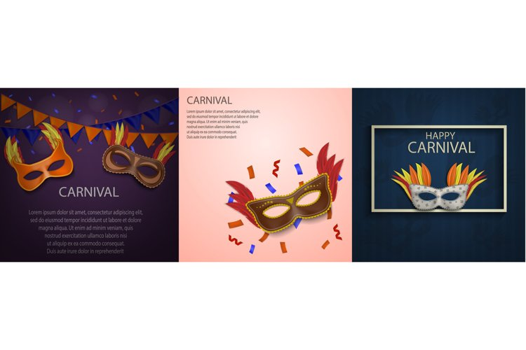 Carnival mask banner concept set, realistic style example image 1