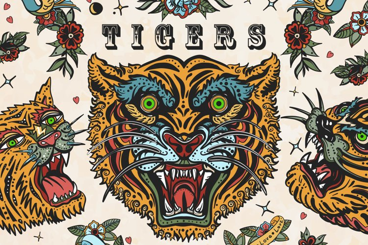 Tigers old school tattoo example image 1