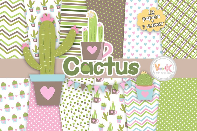 Cactus Digital Papers, Cactus Clipart, Cute Cactus Clipart, Succulent Graphics, Cactus Papers, Planner Accessories, Planner Background