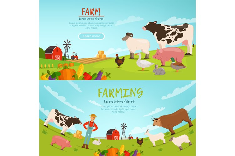 Agribusiness vector illustrations. Banners with farm landsca example image 1