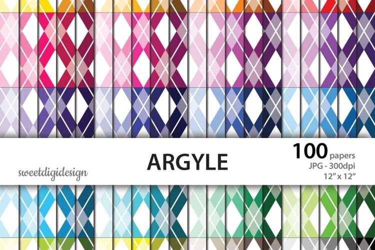 Argyle colorful digital paper example image 1