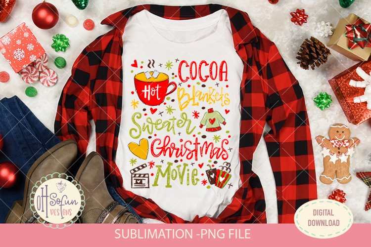 Hot cocoa, Christmas movie, sublimation png