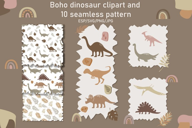 Dinosaur clipart and seamless pattern, Boho baby clipart SVG