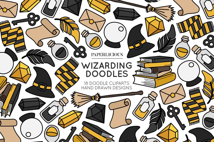 Wizarding Doodle Cliparts example image 1
