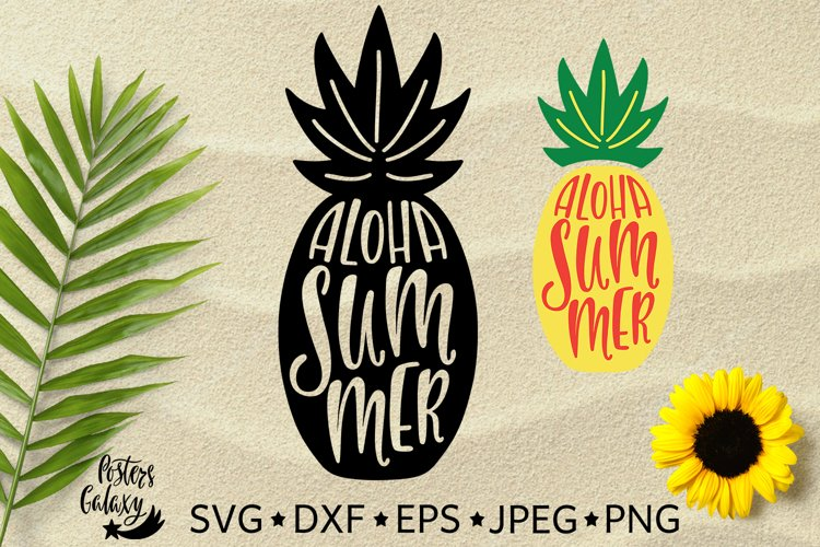 Aloha Summer. Silhouette of pineapple. SVG, EPS, DXF, PNG. example image 1