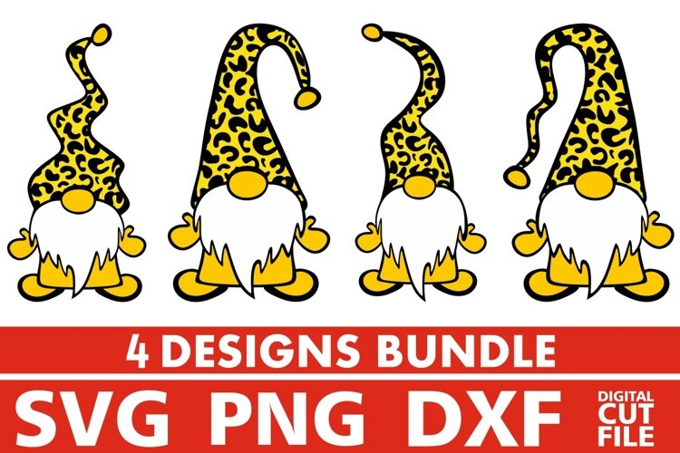 4x Fall Gnome Designs Bundle svg, Leopard Prints svg, Santa example image 1