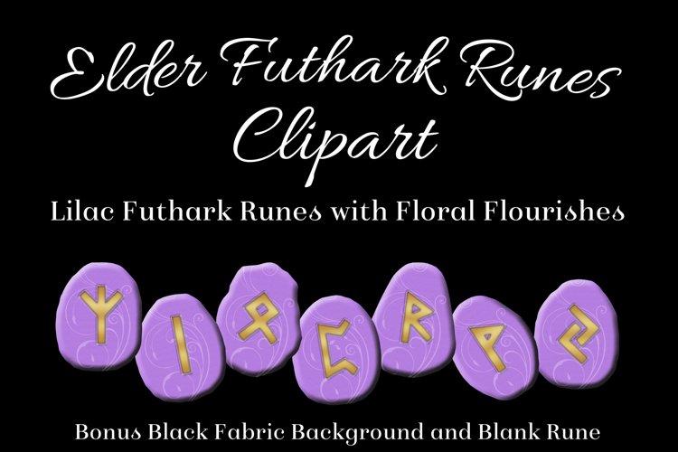Lilac Flourish Elder Futhark Runes Set - Clipart Images