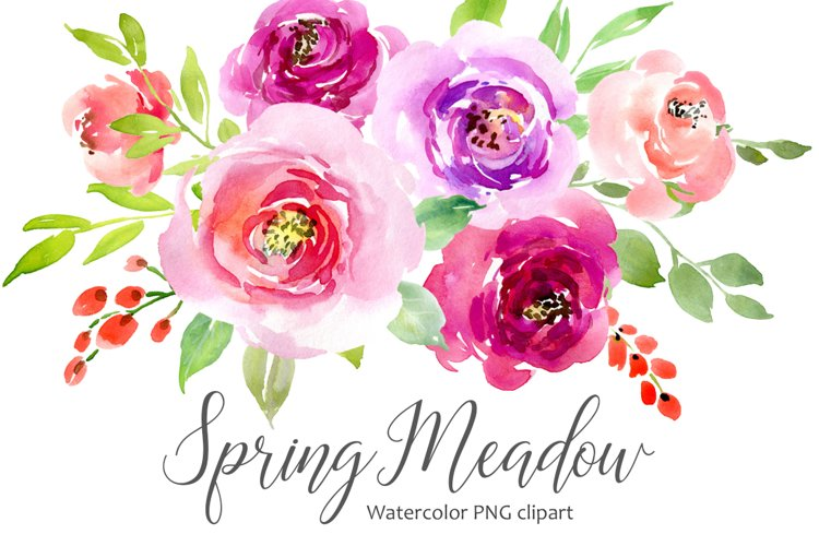 Watercolor Flowers Leaves Roses PNG example image 1