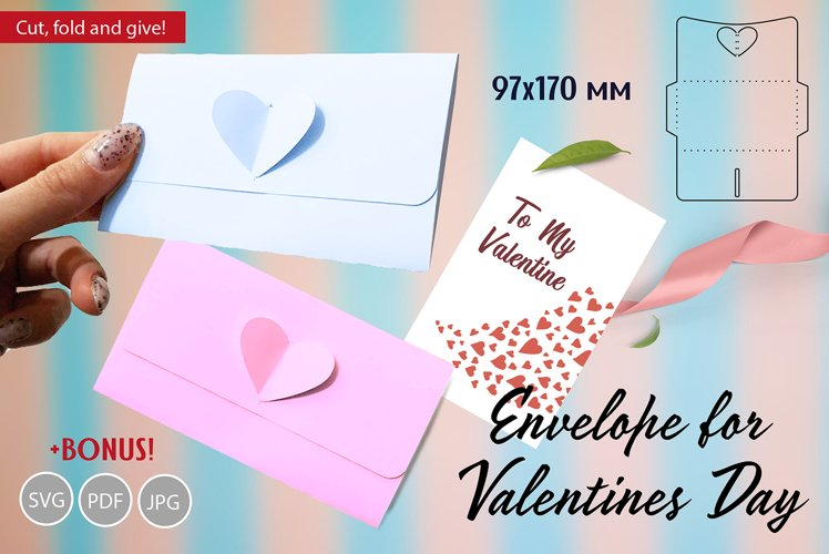 Valentines day envelope with 3d heart and BONUS!