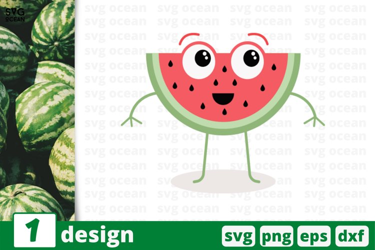 FUNNY WATERMELON FACE SVG, fruits svg, fruit clipart, melon example image 1