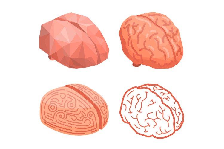 Brain thinking concept background, isometric style example image 1