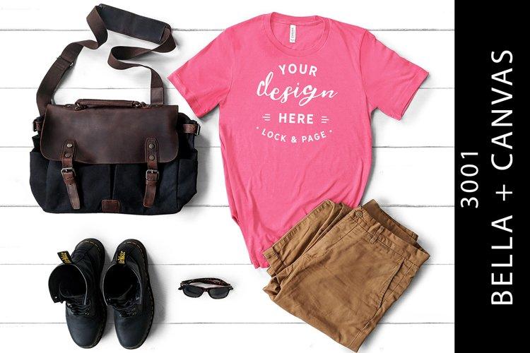 Mens Charity Pink Bella Canvas 3001 Mockup T-Shirt Masculine example image 1