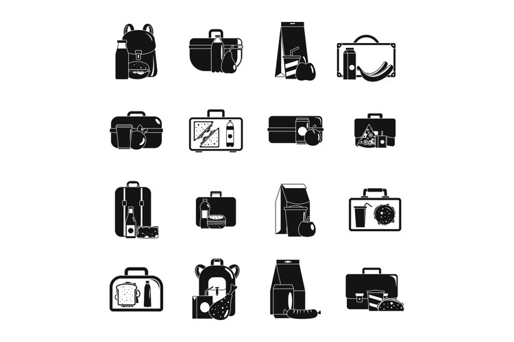 Lunchbox food icons set, simple style example image 1