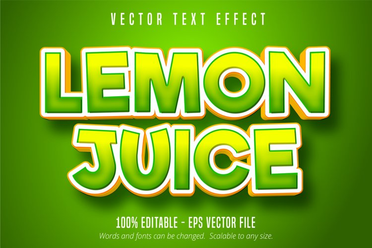 Lemon juice text, green editable text effect example image 1