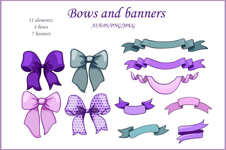 green and lavender bows and ribbons banners, 11 elements set example image 1