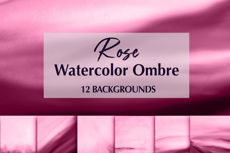 12 Watercolor Rose Ombre Backgrounds example image 1