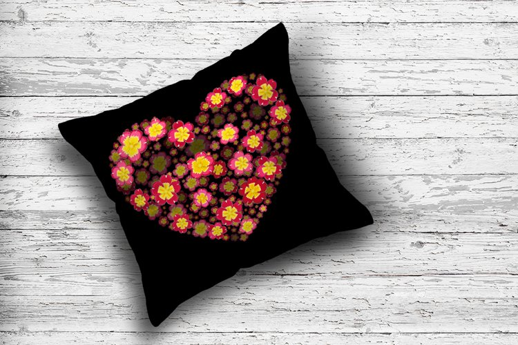 Love Valentines Day Sublimation, Flower Heart PNG example image 1
