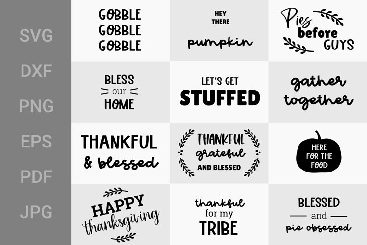 Thanksgiving SVG Bundle, 12 Thanksgiving Quotes SVG example image 1