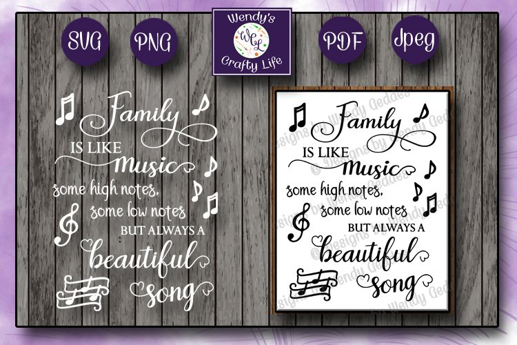 Family music wall quote - SVG - PNG - PDF - 2 Jpeg files