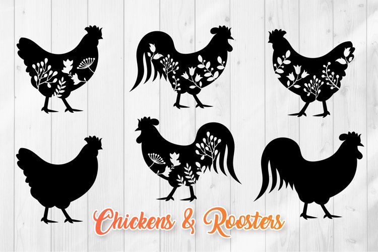 Floral Rooster SVG - Chicken Silhouettes