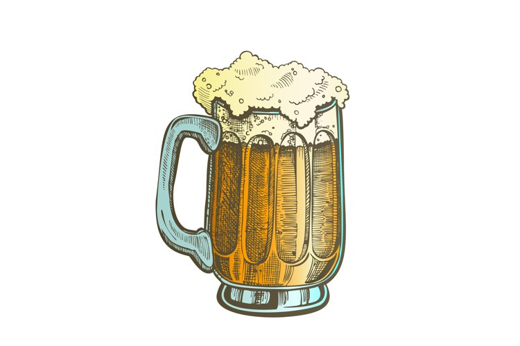 Hand Drawn Mug Color Froth Bubble Light Beer Vector example image 1