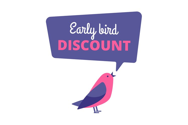 Early bird. Discount special offer, sale banner. Early birds example image 1