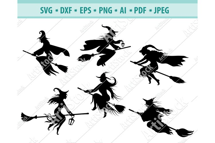 Witch Svg, Halloween Witch png, Halloween Clipart, Dxf, Eps example image 1