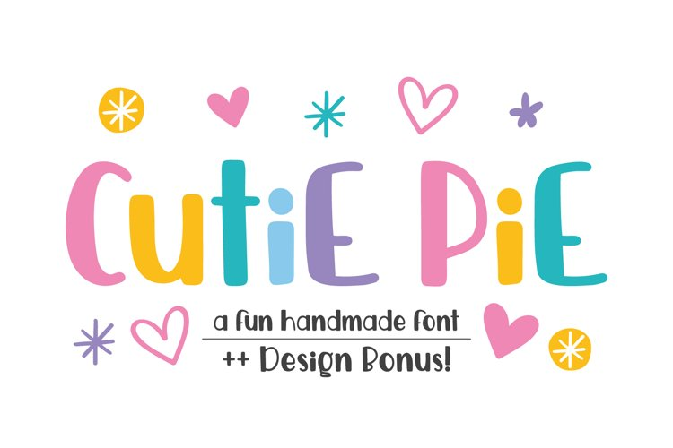 Cutie Pie Font and Bonus Doodles SVGs example image 1