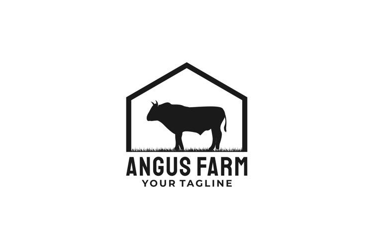 Vintage Cattle Angus Beef Emblem Label Livestock logo example image 1