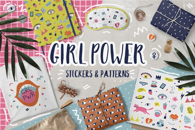 Girl Power stickers & patterns