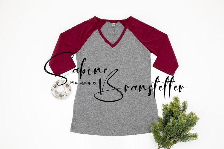 Styled Stock Photo Raglan Womens Shirt Christmas Mockup