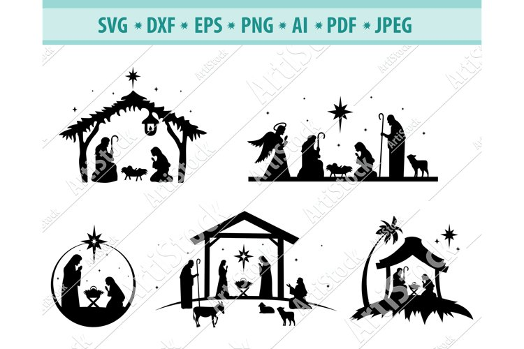 Nativity SVG, Nativity scene svg, Christmas Dxf, Png, Eps