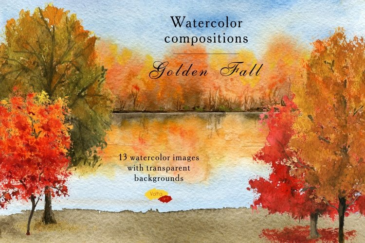 Watercolor Autumn PNG nature elements, Fall clip art example image 1
