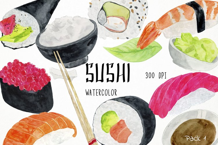 Watercolor Sushi Clipart, Sushi Clip Art, Sushi Illustration example image 1