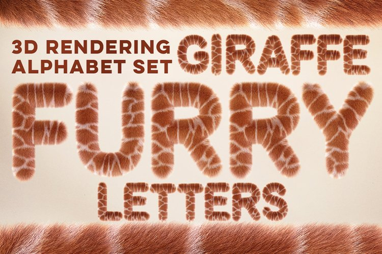 3D Giraffe Furry Letters Pack example image 1