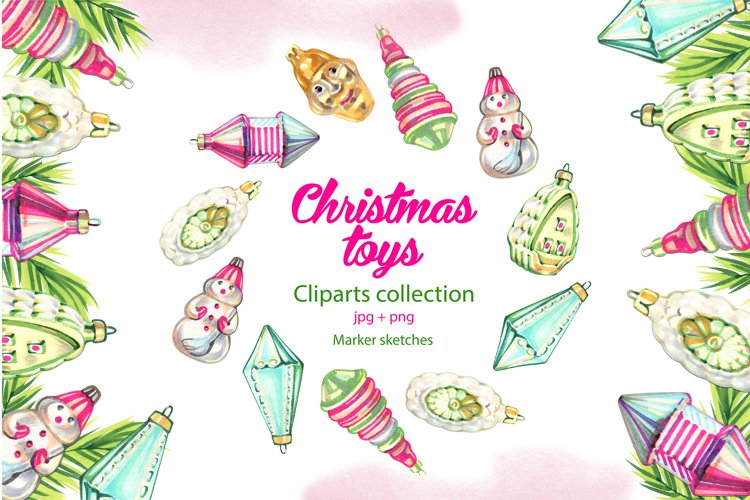 Vintage Christmas toys cliparts
