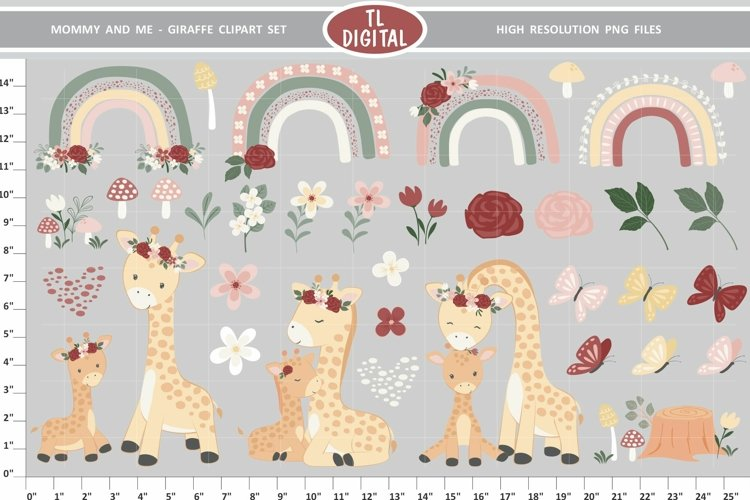 Mommy and Me Giraffe Clipart - 35 PNG Graphics - Florals