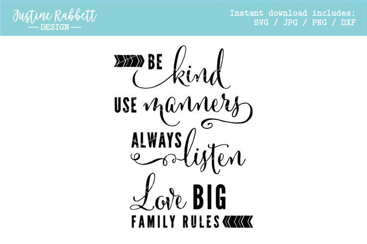Be kind Use manners Always listen Love BIG Family Rules