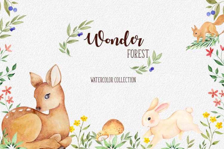 Wonder forest. Watercolor collection example image 1